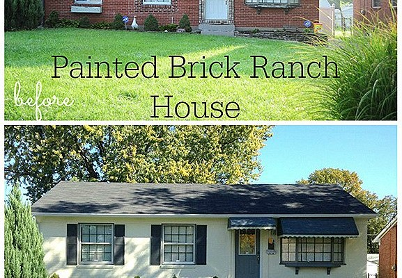 Painted brick Ranch House