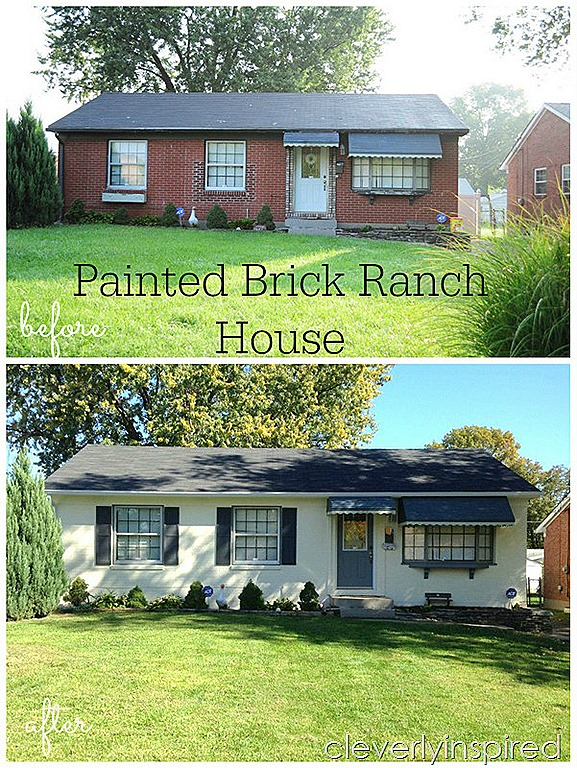 Painted brick ranch house cleverly inspired - Painting over brick exterior photos ...