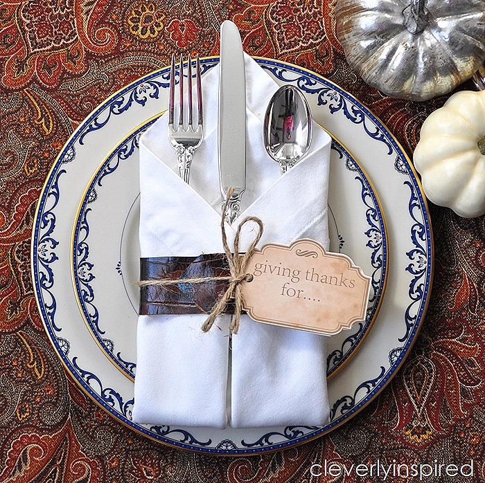 DIY leather napkin tie & Thanksgiving printable @cleverlyinspired (1)