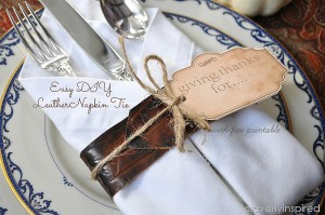 DIY leather napkin holder with free thanksgiving printable