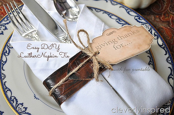 DIY leather napkin tie & Thanksgiving printable @cleverlyinspired (4)