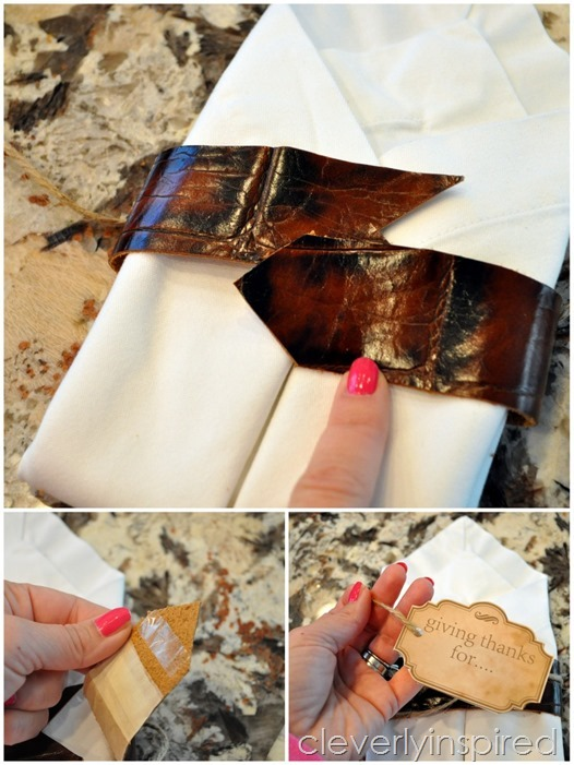 DIY leather napkin tie & Thanksgiving printable @cleverlyinspired (8)