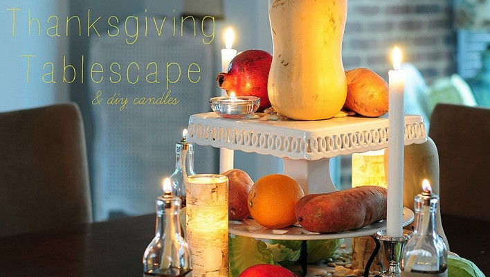 Rustic Thanksgiving Table & DIY candles