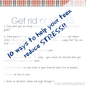 10 ways to help your teen reduce stress