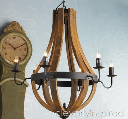Perfect unique lighting on a budget cleverlyinspired Wine Barrel Chandelier