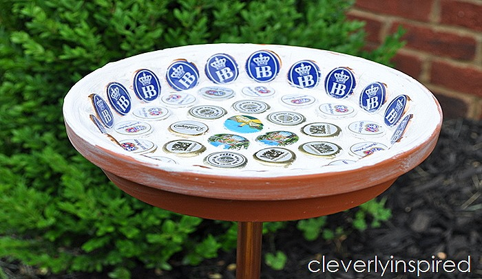 bottle cap bird bath DIY @cleverlyinspired (2)