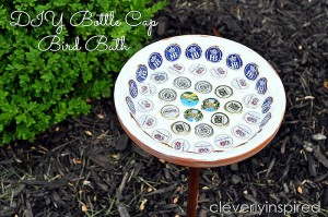 Bottle cap Birdbath (repurposed bottle caps)