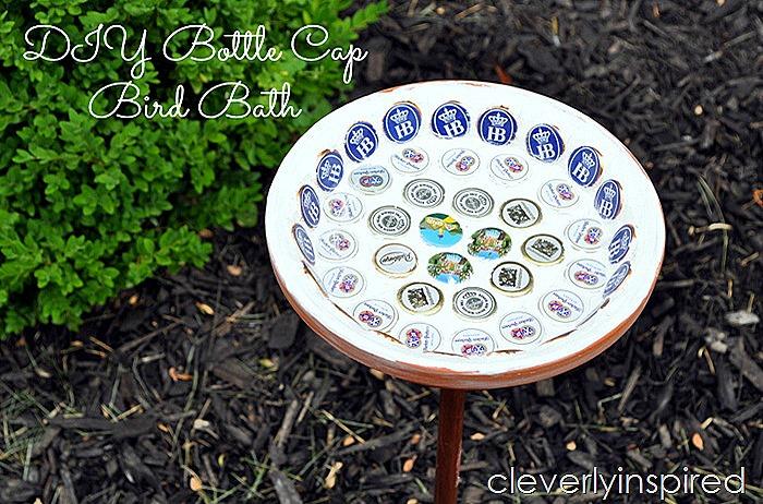 bottle cap bird bath DIY @cleverlyinspired (3)cv