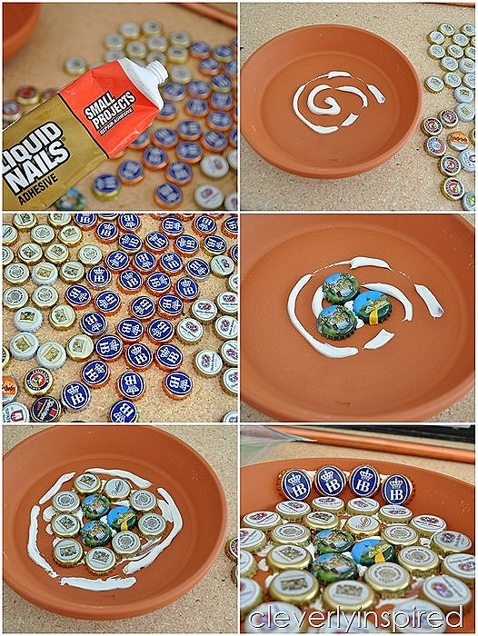 bottle cap bird bath DIY @cleverlyinspired (5)