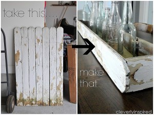 Repurpose old fence: Make a wood Tray DIY