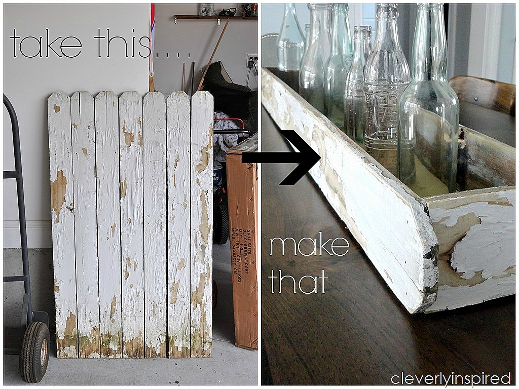 Repurpose old fence make a wood tray diy cleverly inspired for Old wooden fence ideas