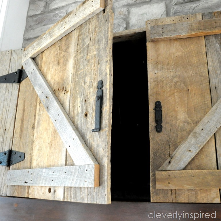Barn Door Tv Cabinet Above Mantle Cleverly Inspired