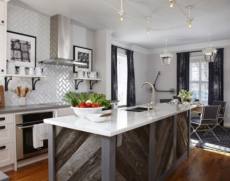 "appealing reclaimed wood kitchen island | DIY ""reclaimed wood"" on Kitchen Island - Cleverly Inspired"