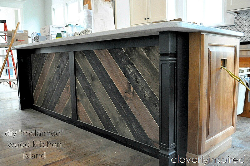 diy  u201creclaimed wood u201d on kitchen island