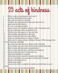 25 Acts of Kindness Advent Printable