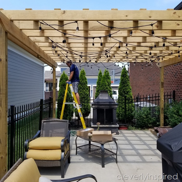 outdoor pergola with lights @cleverlyinspired (2)