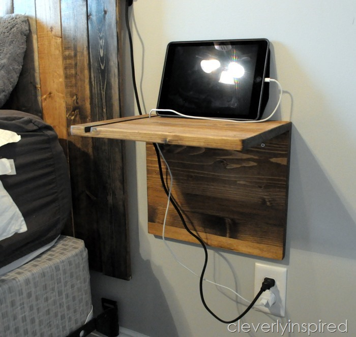 diy floating shelf charging stand @cleverlyinspired (3)