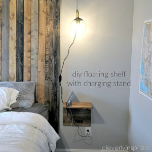 DIY floating shelves with charging stand