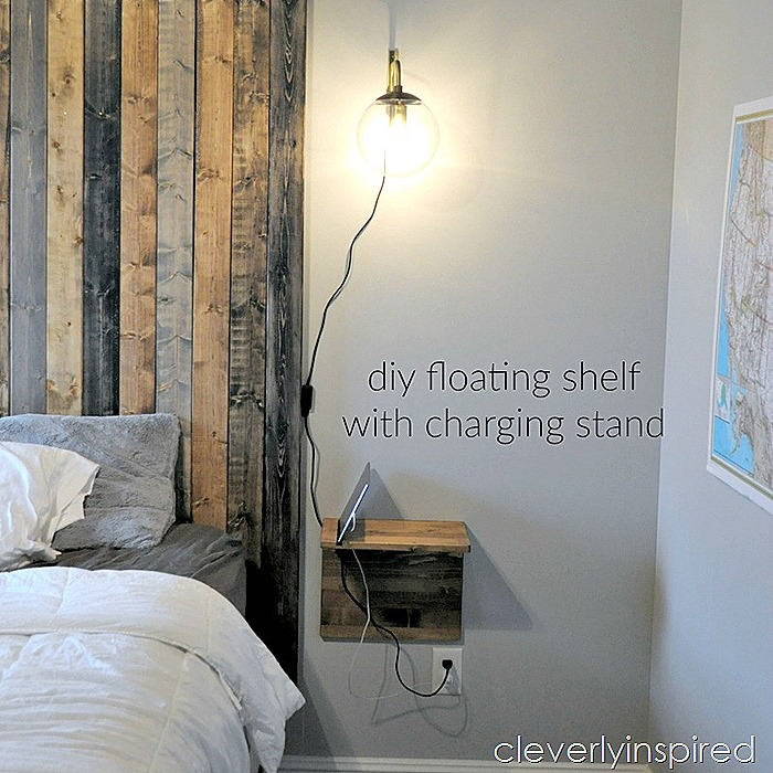 diy floating shelf charging stand @cleverlyinspired (8)