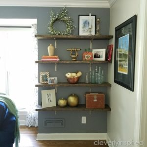 DIY Chunky Wood Shelves #cleverreadingroom